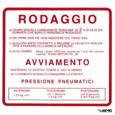 RODAGGIO Sticker run-in rules for Vespa 50 SS/9...