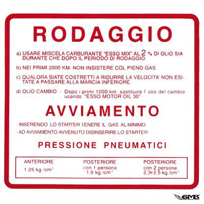 RODAGGIO Sticker run-in rules for Vespa 50 SS/90 SS