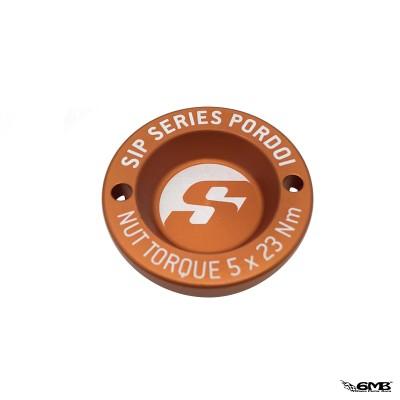 """SIP Pordoi Hub Nut Cover 12"""" Front Rim Vespa - Matt Orange"""